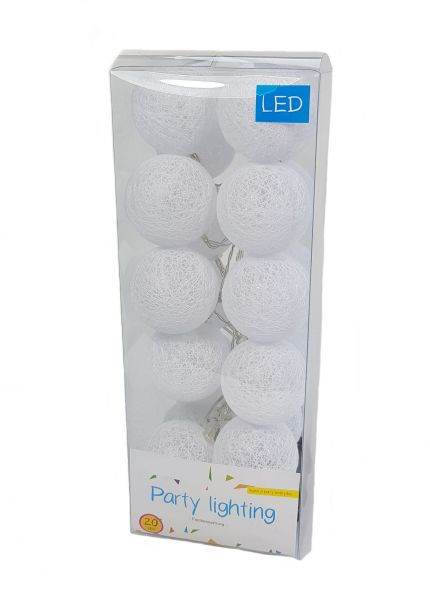 LED Party Lichterkette mit 20 Kugeln - 2m / warmweiß