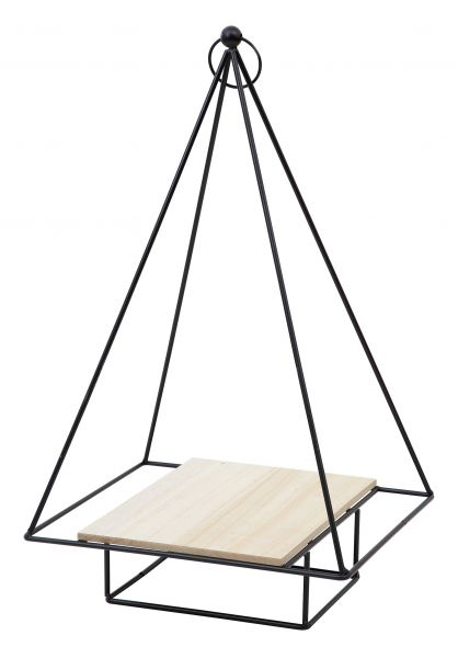 Metall Wandregal Pyramide 48 cm mit Holz Ablage