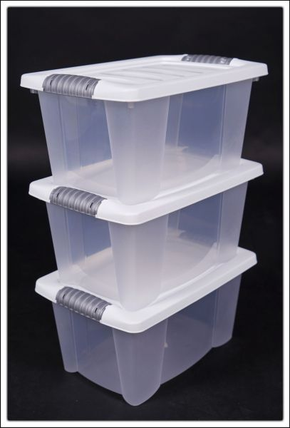 3er Set Multibox stapelbar ca.: 30 cm x 20 cm x 15 cm in weiss