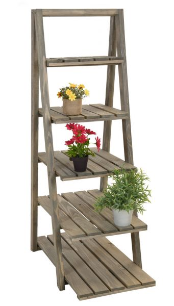 Holz Pflanztreppe 118cm - 5 Ablagen