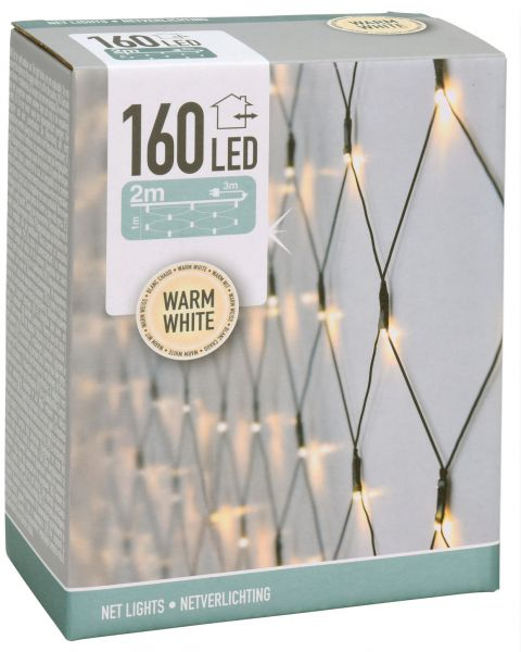 LED Lichternetz 160 LEDs in warmweiss ca 200 cm x 100 cm