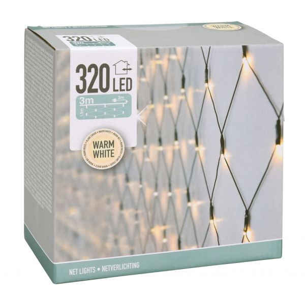 LED Lichternetz 320 LEDs in kaltweiss ca 300 cm x 150 cm -