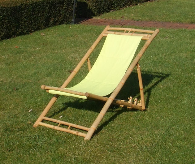 Gartenliege klappbar holz  Bambus Liegestuhl klappbar - 3 Farben - Holz Sonnenliege Strandliege ...