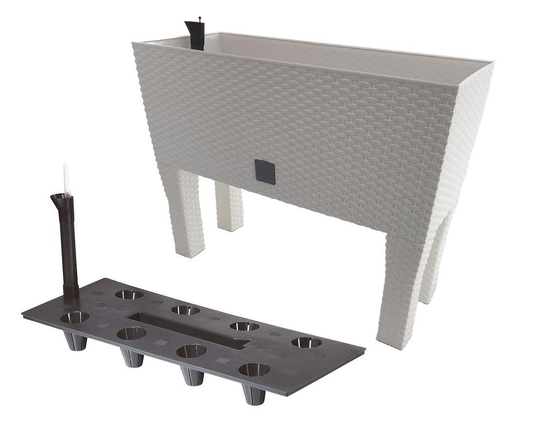 blumenkasten in wei rattan optik pflanzk bel pflanzkasten blumen bank topf 4260461475960 ebay. Black Bedroom Furniture Sets. Home Design Ideas