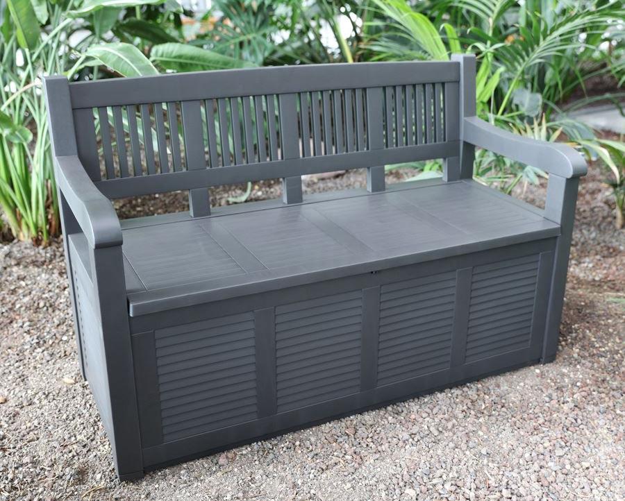 gartenbank mit staufach 280l truhenbank kissen truhe auflagen box sitzbank ebay. Black Bedroom Furniture Sets. Home Design Ideas
