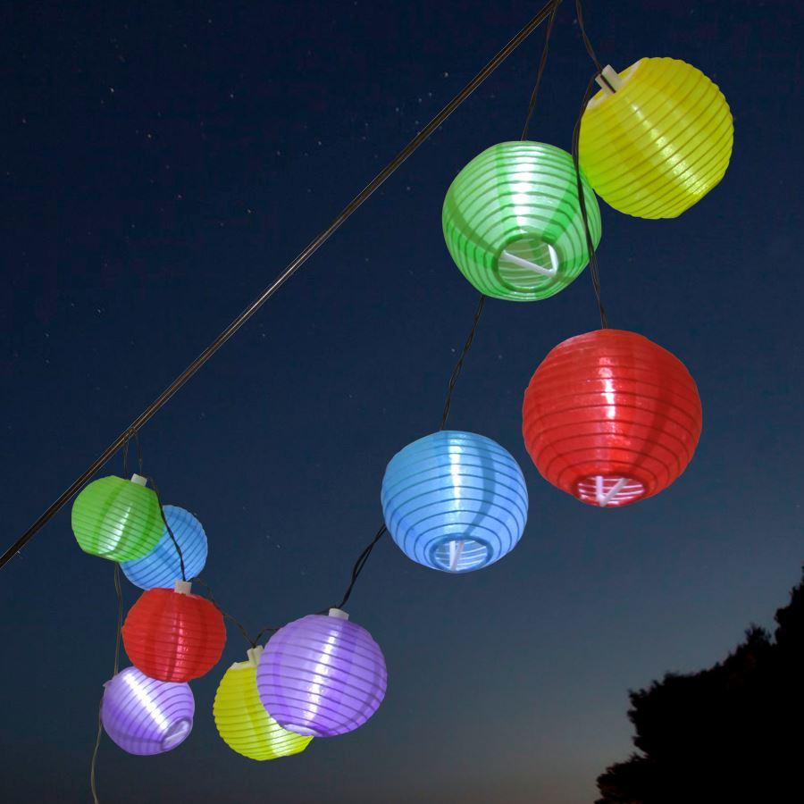 Solar LED Party Lichterkette - Lampion - bunt - Außen