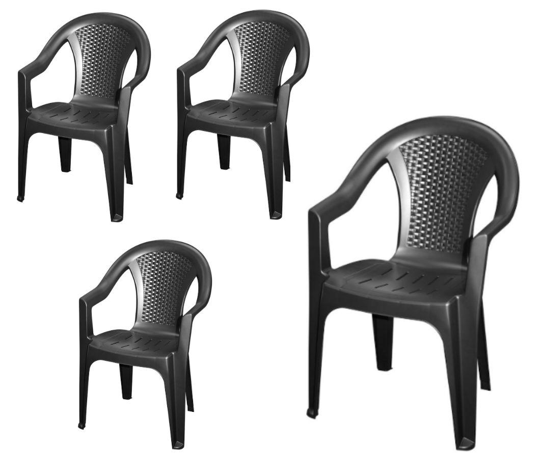 gartenstuhl anthrazit wei rattan look monoblock kunststoff stapelstuhl ebay. Black Bedroom Furniture Sets. Home Design Ideas