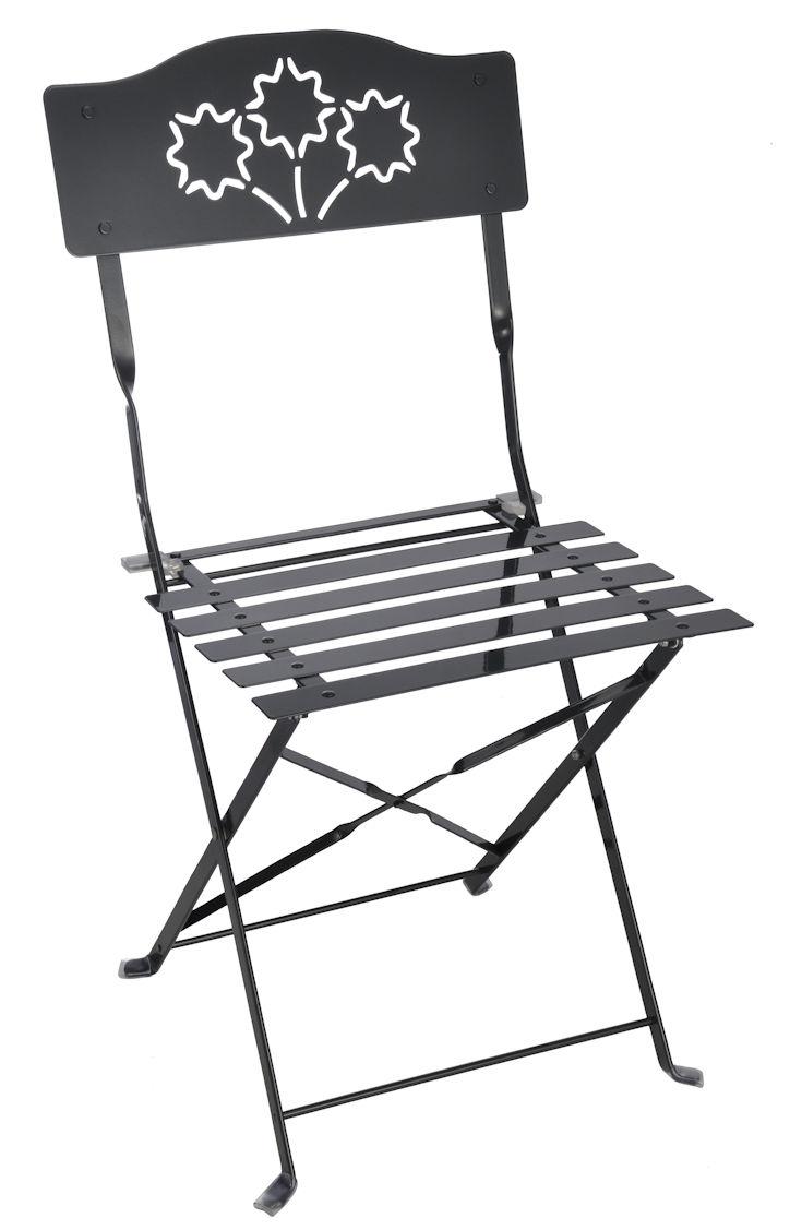 Metall klappstuhl schwarz bistrostuhl biergartenstuhl for Stuhl deko garten