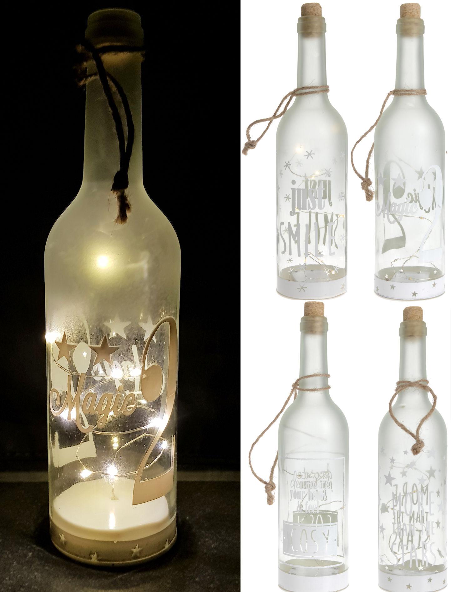 led dekoflasche 10 led 4er set flaschenlicht beleuchtete wein flasche deko ebay. Black Bedroom Furniture Sets. Home Design Ideas