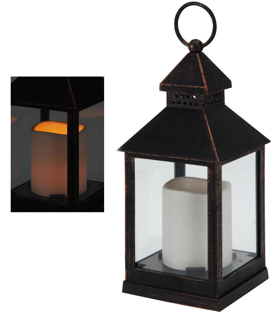 deko laterne kupfer optik inkl led kerze dekoration. Black Bedroom Furniture Sets. Home Design Ideas