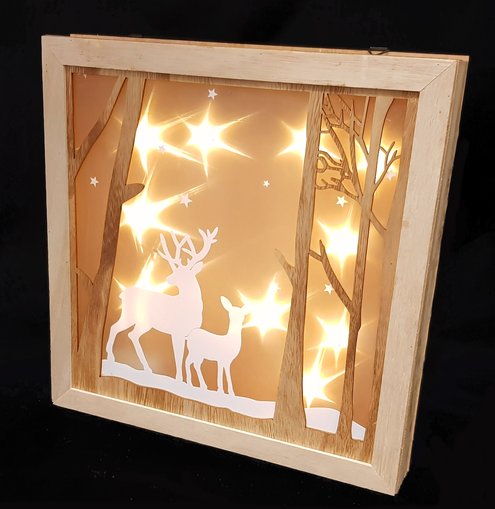 led weihnachtsdeko rentier 30 cm holz fensterdeko beleuchtet hologramm effekt ebay. Black Bedroom Furniture Sets. Home Design Ideas