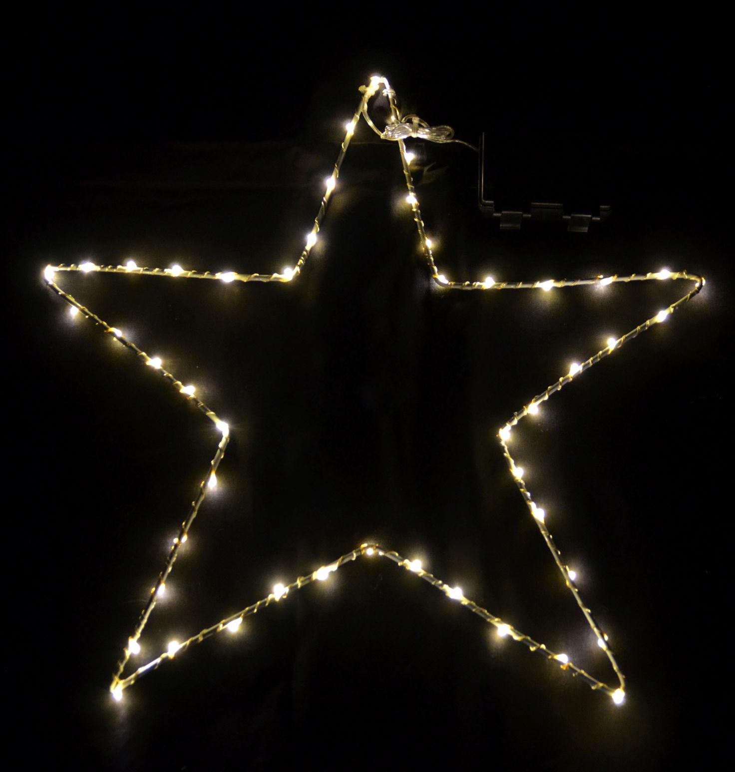 Fensterbild stern 50 led warmwei mit timer fenster deko beleuchtet au en ebay - Led fensterbild ...