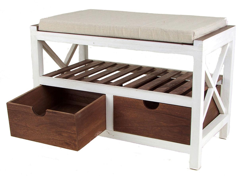 holzbank inkl 2 schubladen sitzbank polster bank schuh regal kommode hocker ebay. Black Bedroom Furniture Sets. Home Design Ideas