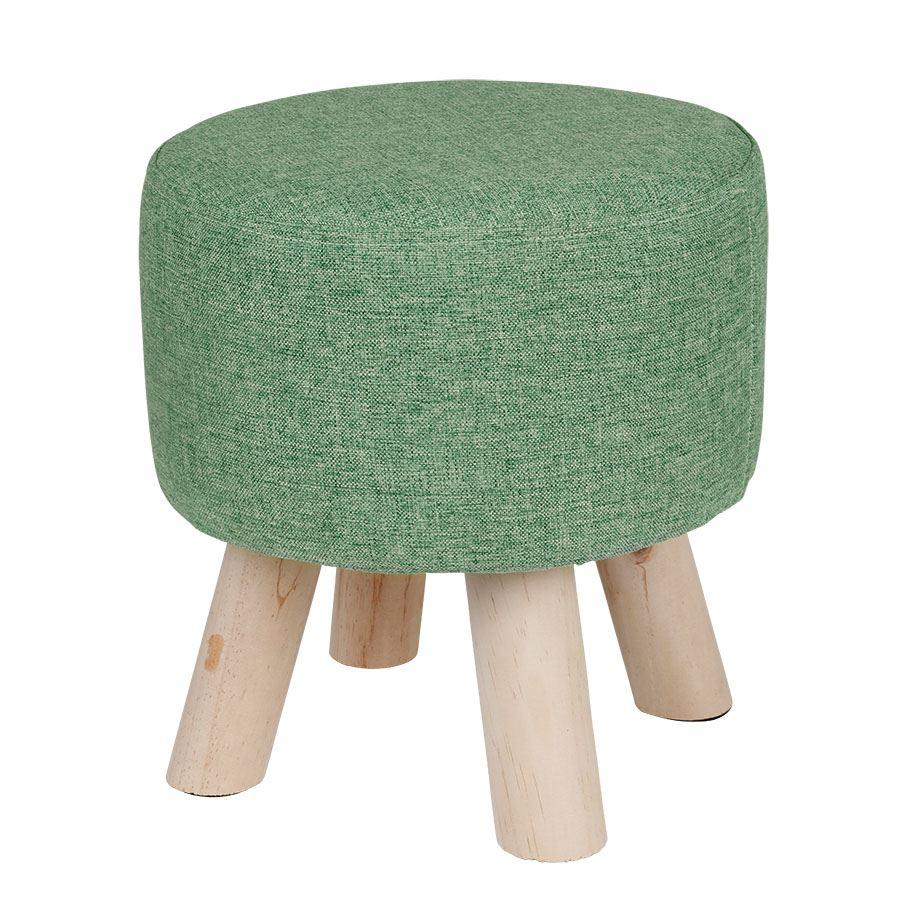Design-Polster-Hocker-2-Farben-Massiv-Holz-Sitzhocker-Holzhocker-rund