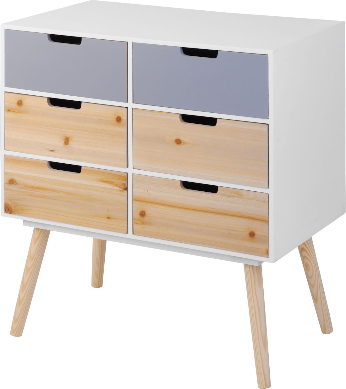 holz kommode retro design 6 schubladen beistelltisch konsolentisch sideboard ebay. Black Bedroom Furniture Sets. Home Design Ideas