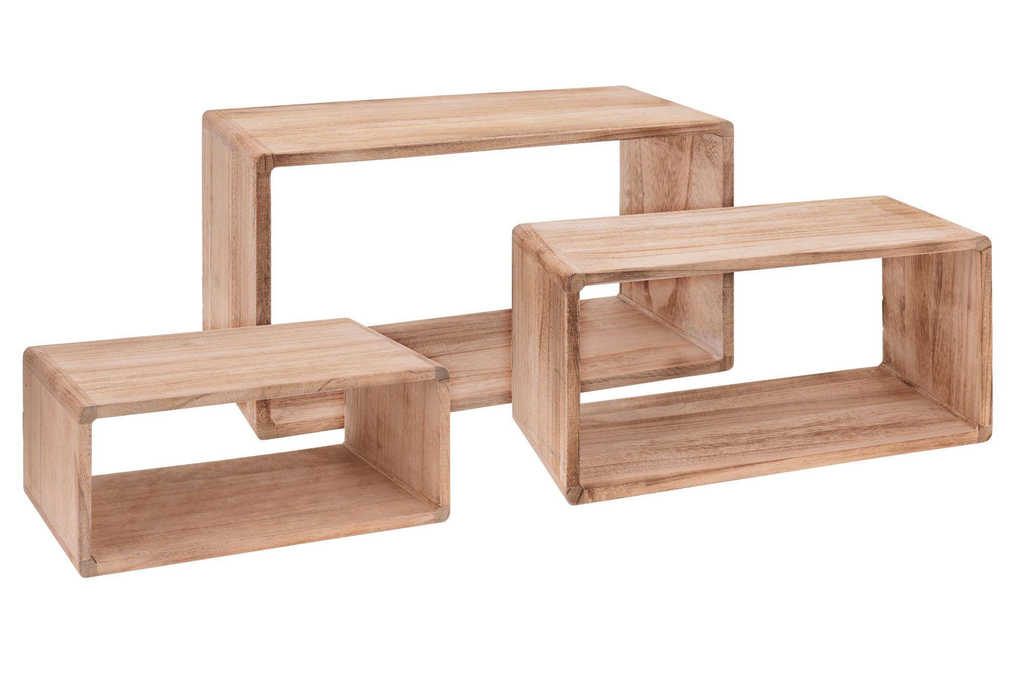 wandregal rechteck 3er set aus holz 45 40 35 cm h ngeregal w rfel regal ebay. Black Bedroom Furniture Sets. Home Design Ideas