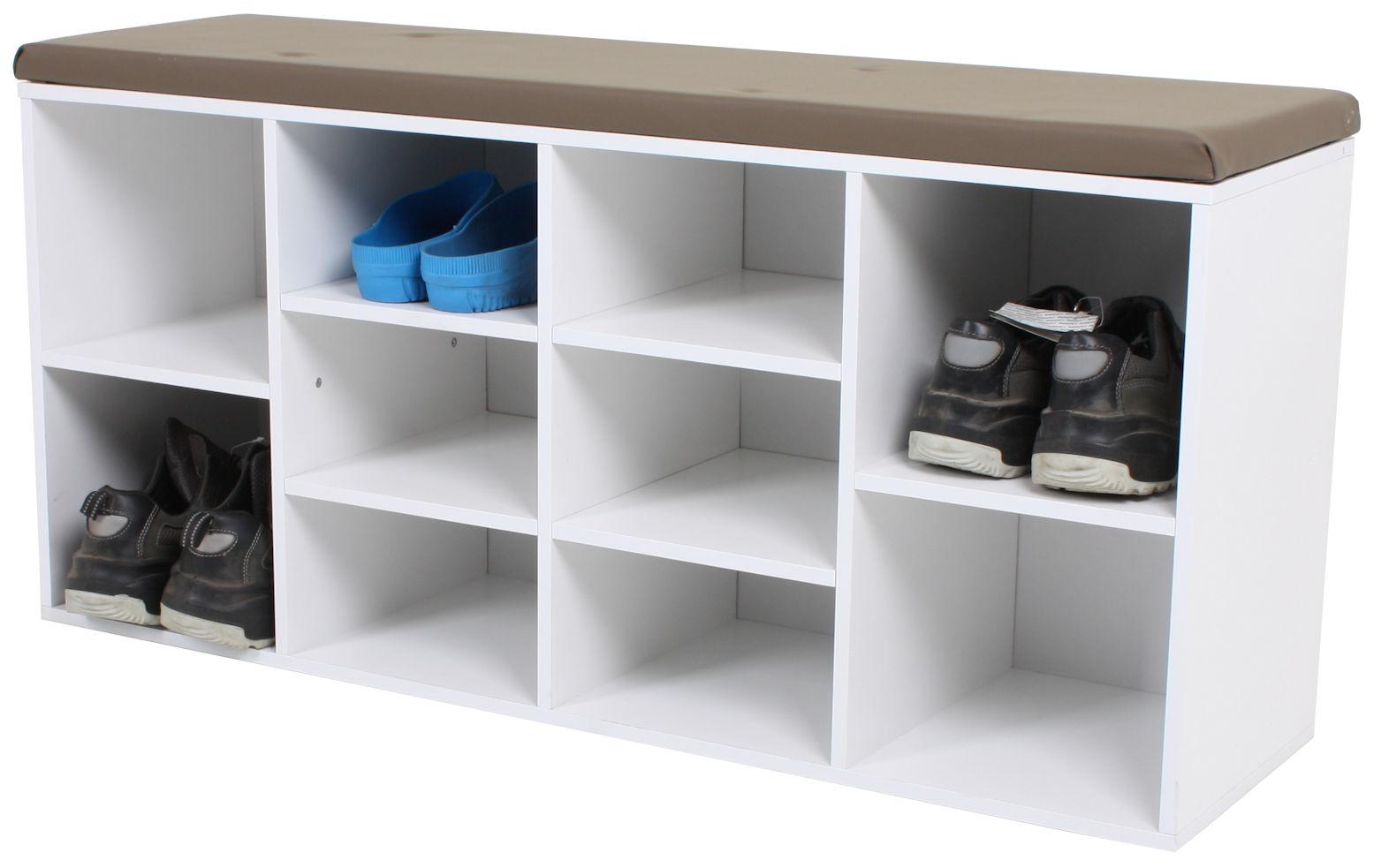 holz schuhbank 103 cm 10 f cher schuhregal sitzbank schuhschrank schuhablage 4260461475588. Black Bedroom Furniture Sets. Home Design Ideas