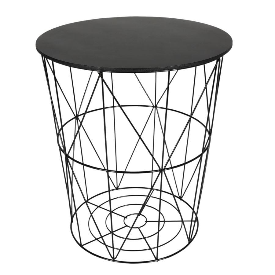 Design beistelltisch schwarz metall drahtkorb for Design beistelltisch metall