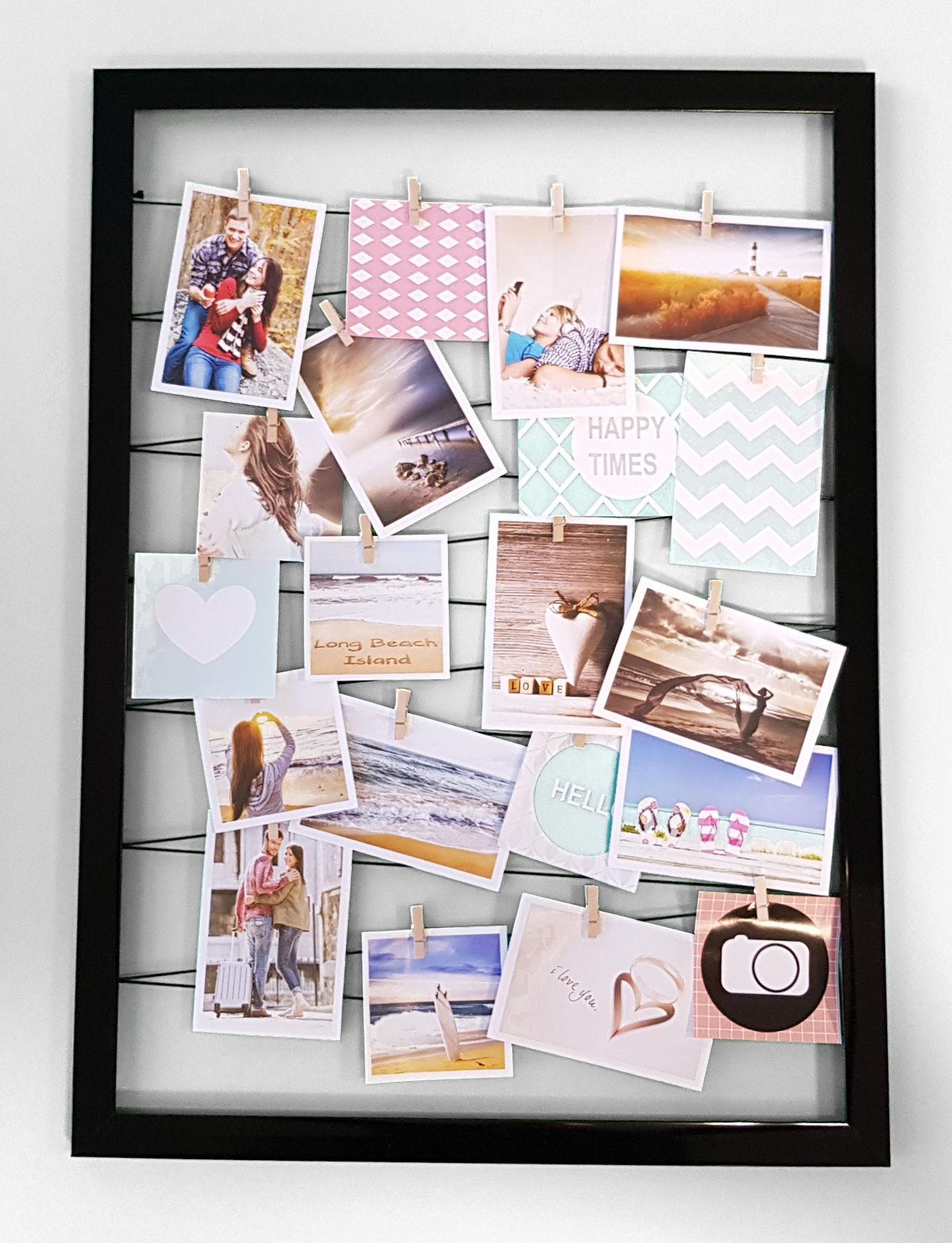 Fotohalter auf Gummileine + 20 Clips - schwarz oder weiß - Bilder ...