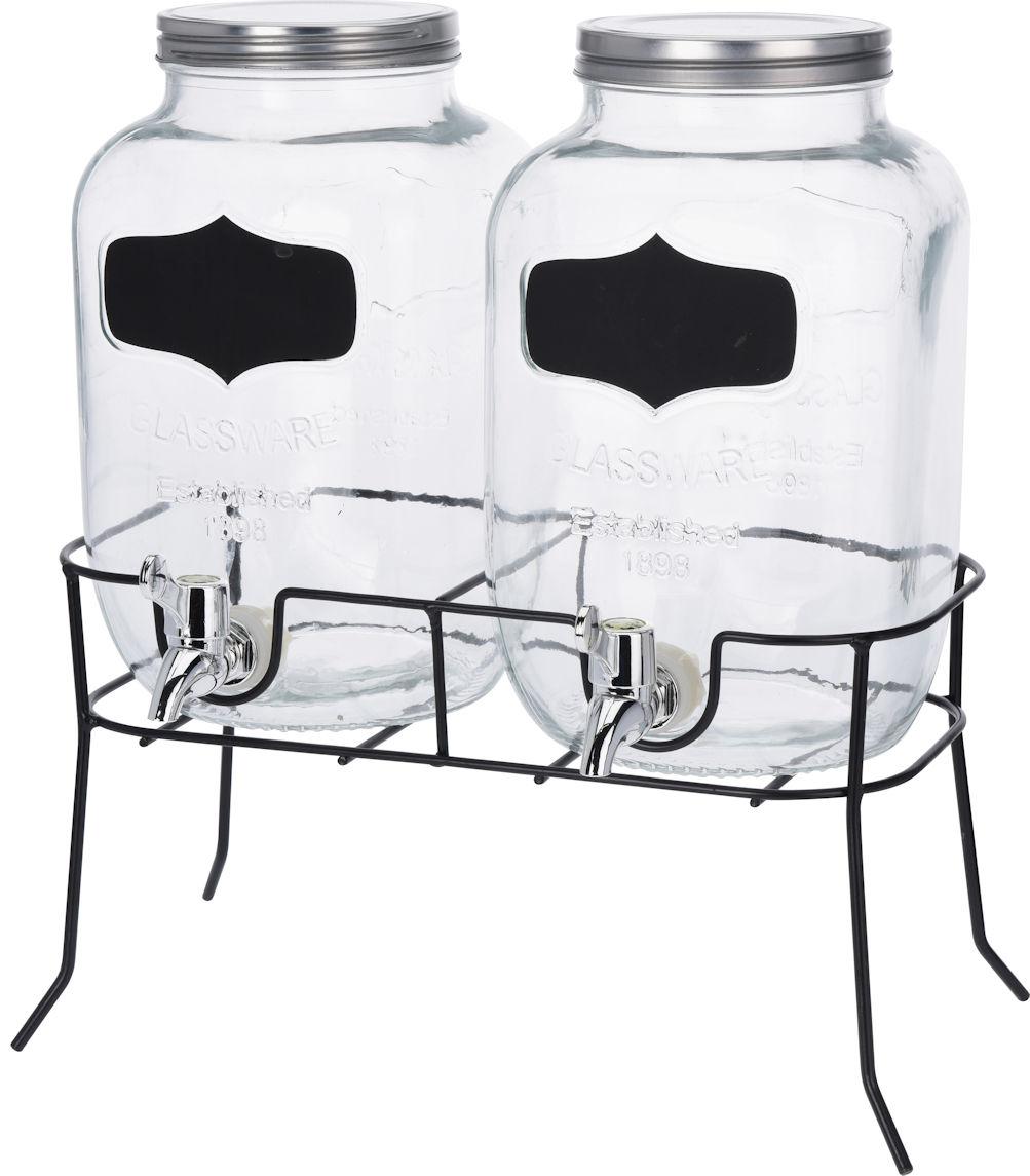 getr nke spender set 2x 4l glas mit zapfhahn gestell saftspender dispenser 4260461473201. Black Bedroom Furniture Sets. Home Design Ideas
